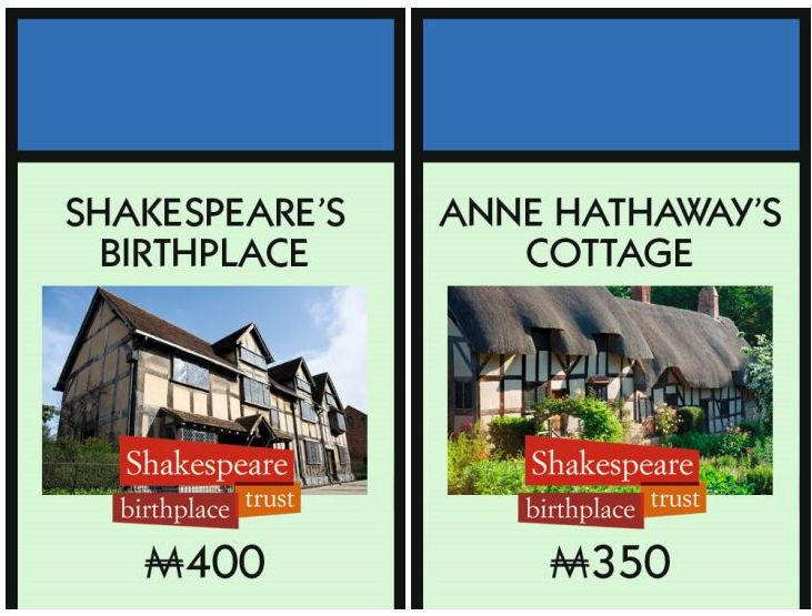 Shakespeare's Birthplace on Stratford Monopoly - Anne Hathaway's Cottage on Stratford Monopoly